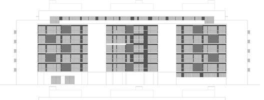Edificio para 103 viviendas garajes y trasteros VPA,Alzado