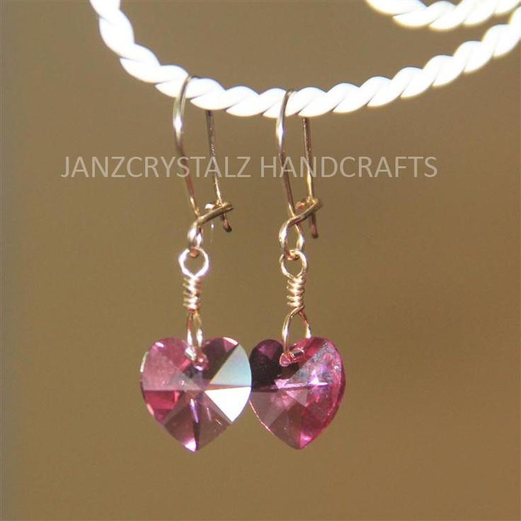 JanzCrystalz Handcrafts: Swarovski Girly Heart Earrings - Light Rose Heart