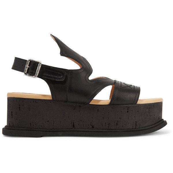MM6 Maison Margiela - Cutout Embroidered Leather Platform Sandals (13.725 RUB) ❤ liked on Polyvore featuring shoes, sandals, black, black strappy sandals, strappy leather sandals, black leather sandals, strappy platform sandals and black strappy shoes