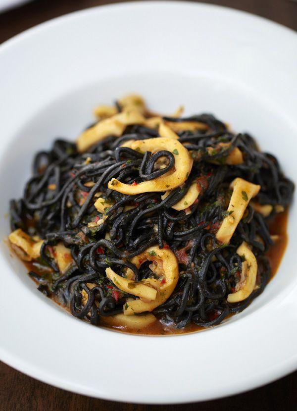 Bibo's tagliarini nero with squid, chilli, tomato and garlic