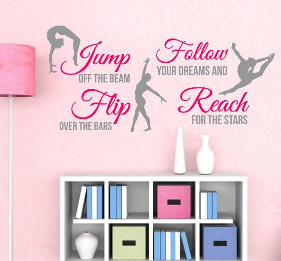 GYMNASTICS Subway Art 2 Color SPORT Girl QUOTE Vinyl Wall Decals Art  Stickers