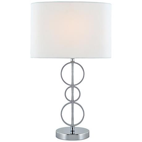 Inventive and charming, this sculptural chrome table lamp with a white fabric shade includes a compact fluorescent bulb.