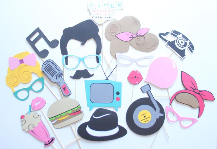 20pc * Fabulous 50's Themed Photo Booth Props/Wedding Photobooth by ThePartyGirlStudio on Etsy