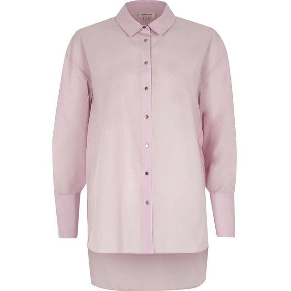 River Island Light purple tie cuff oversized shirt (£45) ❤ liked on Polyvore featuring tops, blouses, purple, shirts, women, purple long sleeve shirt, double cuff shirts, pink oversized shirt, long sleeve blouse and long sleeve shirts