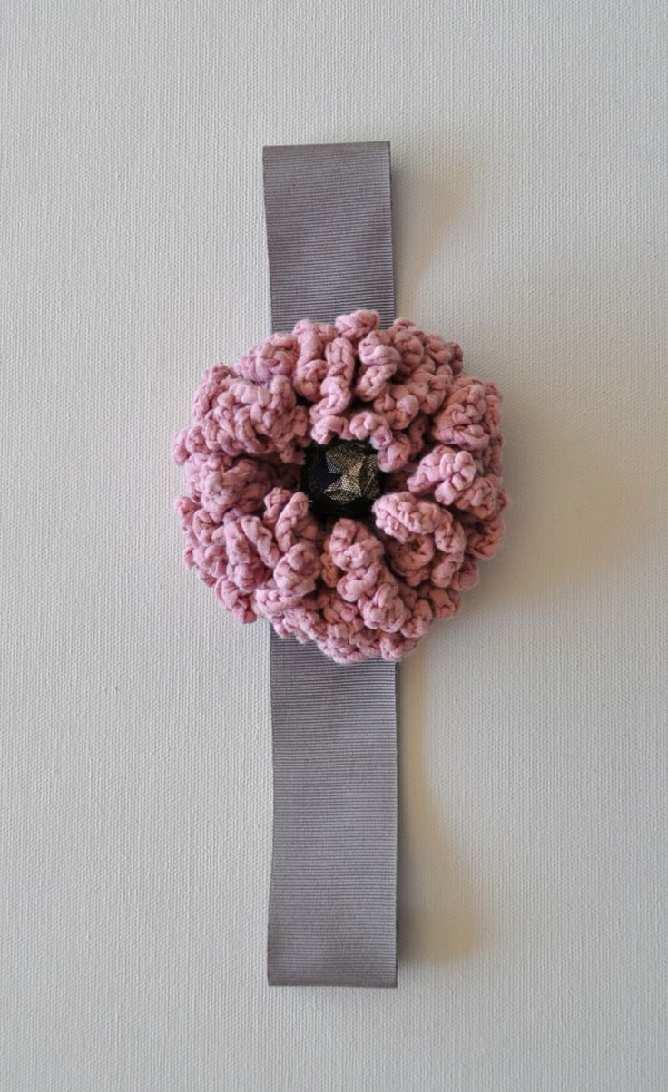 COCO headband , handmade. Crochet pompom , crystal on grey grosgrain ribbon.