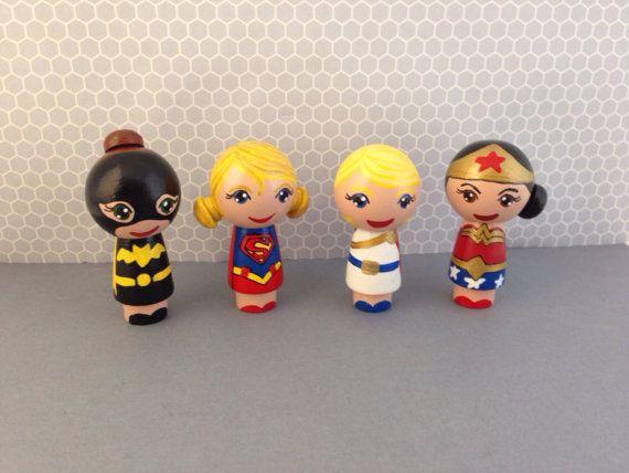 Made to Order:  4 Big Head Justice Seeking Super Women Peg People