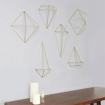 Prismes à assembler pour suspendre (3 formes complètes) ou à accrocher au mur (6 moitiés)
