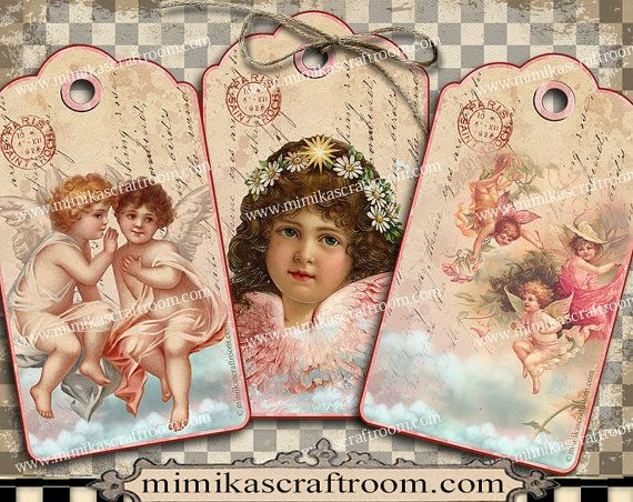 Instant ANGELS digital tags fairies gift tags by mimikascraftroom