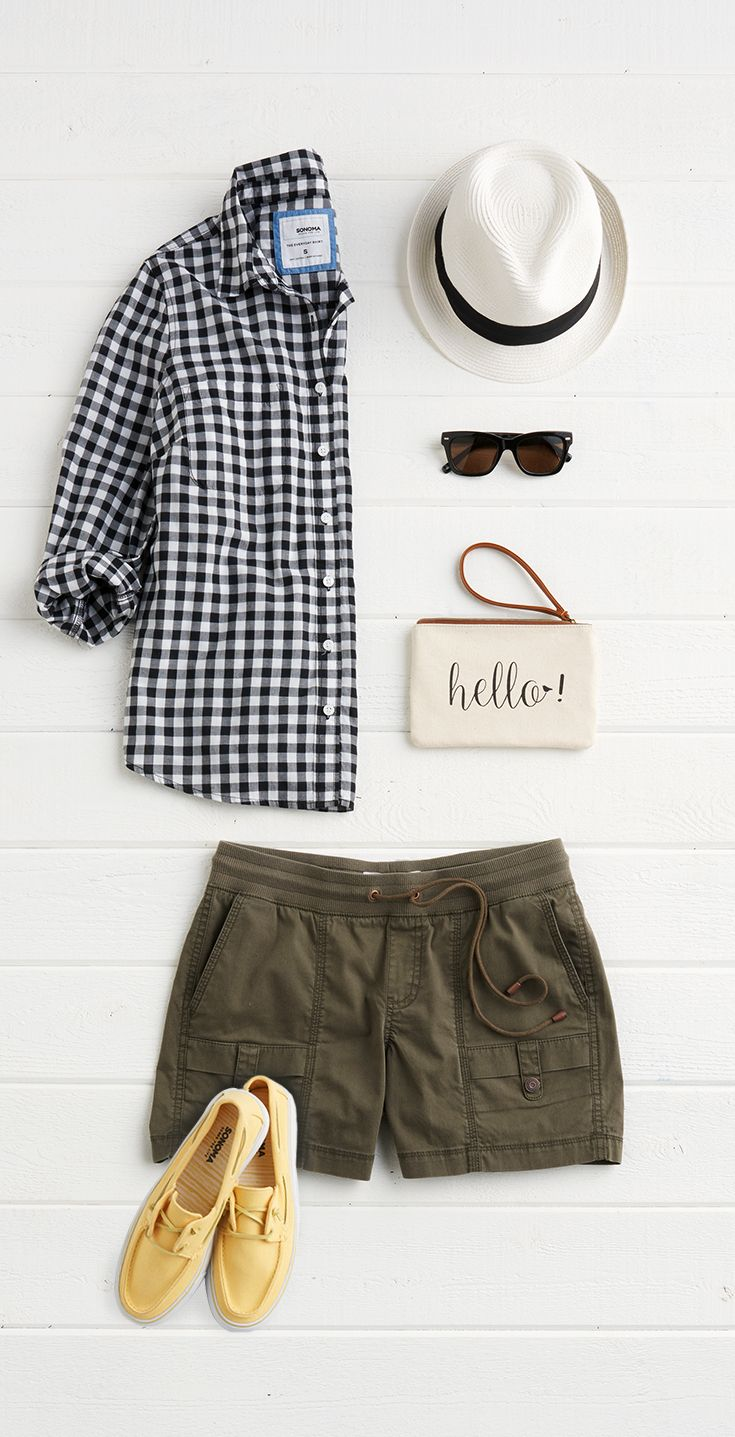 This borrowed-from-the-boys gingham button down feels just right for spring. Keep it casual with a rolled sleeve and drawstring shorts. A pair of sunny yellow deck shoes adds just enough color to this weekend-ready outfit. Find this look and more from SONOMA Goods for Life, only at Kohl's.