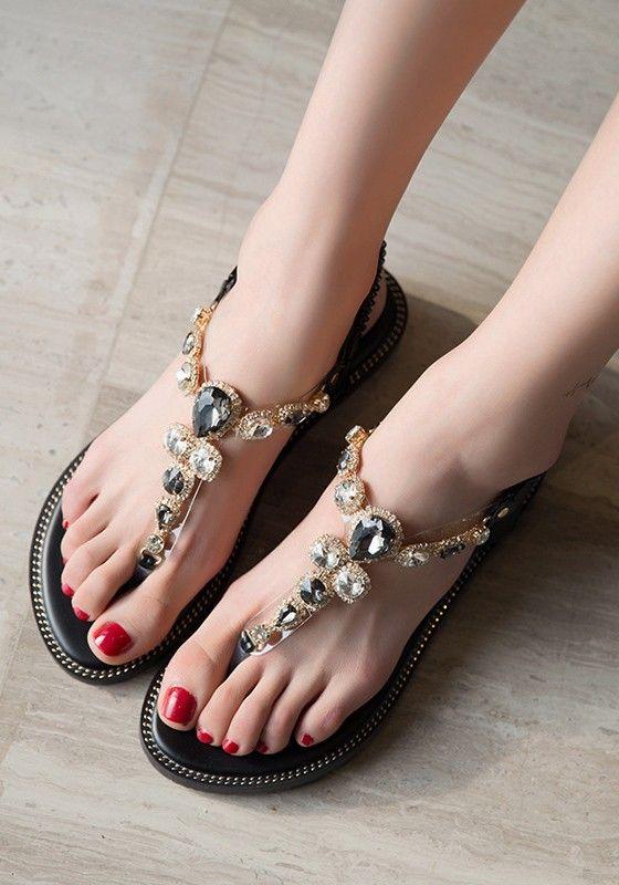 a8db1dfcbd9a12 Black Round Toe Flat Rhinestone Fashion Ankle Sandals