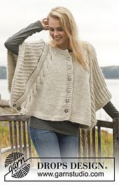 Ravelry: 150-12 Dove - Poncho with cables and textured pattern in Nepal and Kid-Silk pattern by DROPS design