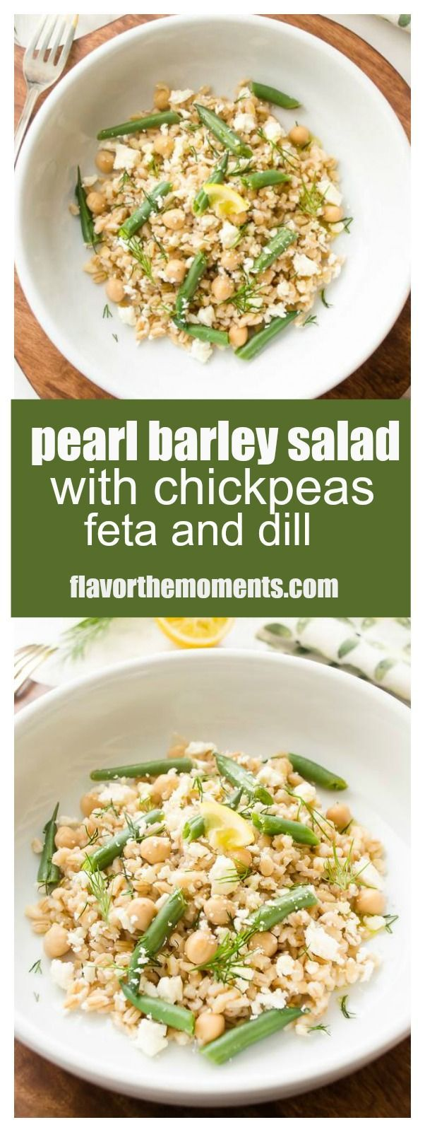 Pearl Barley Salad with Chickpeas, Feta, and Lemon is a simple, hearty salad packed with fresh lemony flavor. It's perfect for lunch and makes a great dinner side! @FlavortheMoment