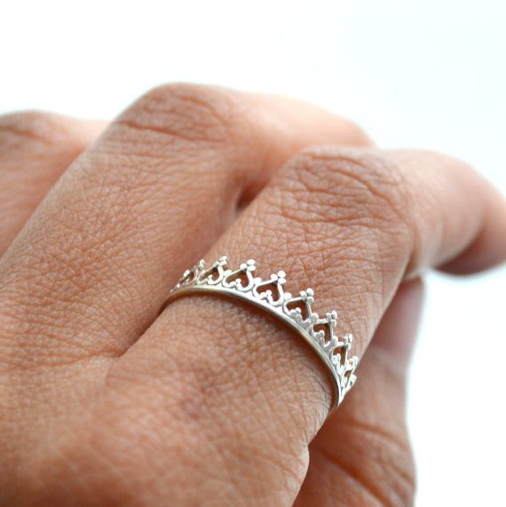 There is no queen without a crown ring. silver band. wedding ring. engagement band