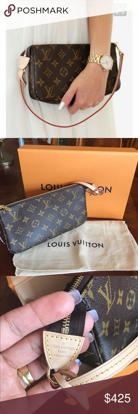 """Louis Vuitton Pochette Clutch Louis Vuitton Pochette Clutch  Always the epitome of iconic style, this interpretation of the Pochette Accessoires can accommodate a Zippy Wallet. In Monogram canvas, it easily carries all the daily necessities. It's like new without tags. I have the box and dust bag. It's an adorable bag that deserves a loving home❤️‼️Size: 9 """" length, 1"""" depth, 6"""" height. ❌No TRADES ❌ Louis Vuitton Bags Clutches & Wristlets"""