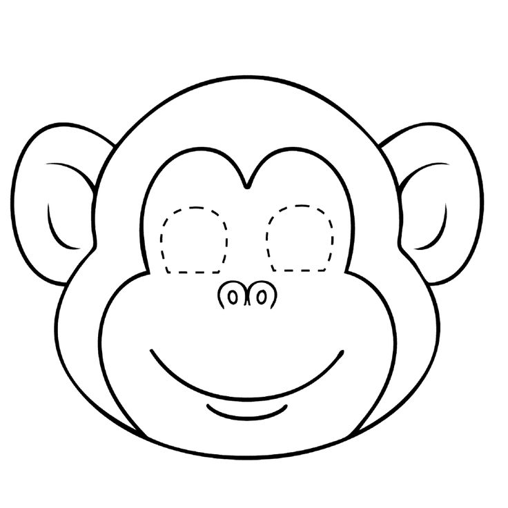 Leuk voor kids kleurplaatmasker: aap