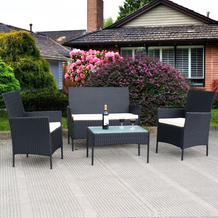 4 Piece Patio Rattan Furniture Set Outdoor Loveseat Garden Wicker Cushioned Sofa #4PiecePatioRattanFurnitureSet