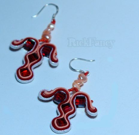 Gift for Women's day, soutache earrings, sterling silver fitments, handcrafted jewelries,