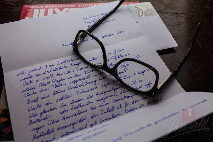 Mit Lamy© Füller geschrieben und über www.pensaki.de versendet. DIN A4 Brief mit bis zu 1000 Zeichen, inkl. handschriftlicher Adresse auf dem Umschlag und Briefmarke. Sie tippen, Pensaki macht den Rest für Sie.