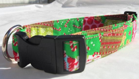 Pink/Green Christmas Patchwork Dog CollarMedium by CollarYourDog, $12.00