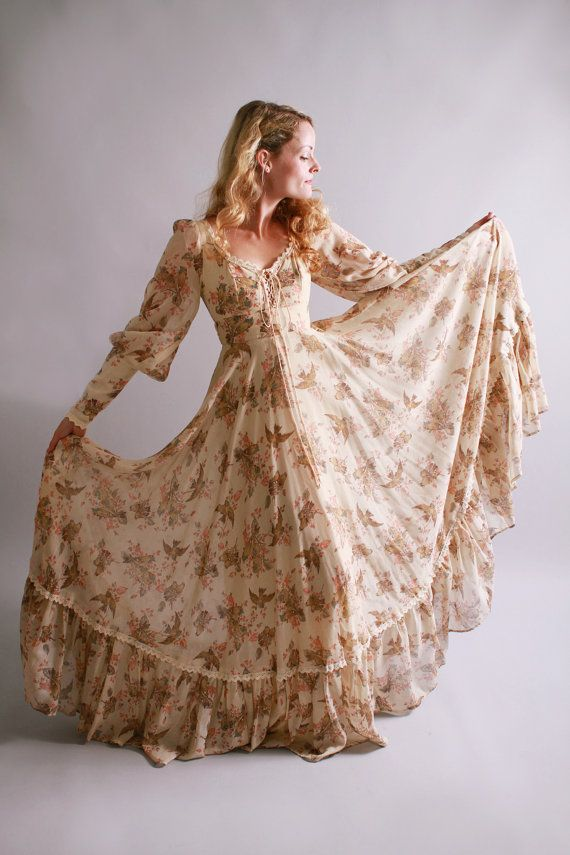 1970s maxi dress / vintage gunne sax dress with birds and their nests / by coralvintage, $160.00