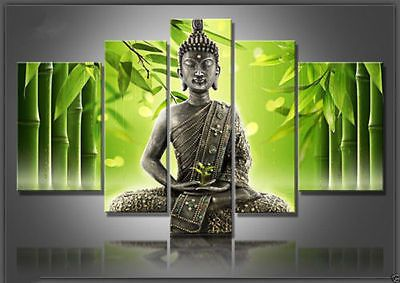 5pc hand-draw Arte Pintura Al Óleo De Buda Decoración De Pared De Lona (n ° enmarcado)