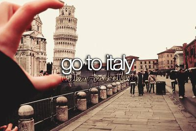 """Go to Italy! But for some reason, the wording is bothering me. I feel like it should be """"Visit Italy"""". """"Go to Italy"""" sounds off.."""