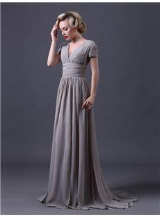 Glamorous & Dramatic Fall Formal Floor-Length A-line Zipper-up Short Sleeves Natural Dress