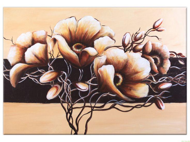 Beżowe Kwiaty 100x70. Obraz do salonu. OBRAZY RĘCZNIE MALOWANE AKRYL Galeria obrazów Art Verde