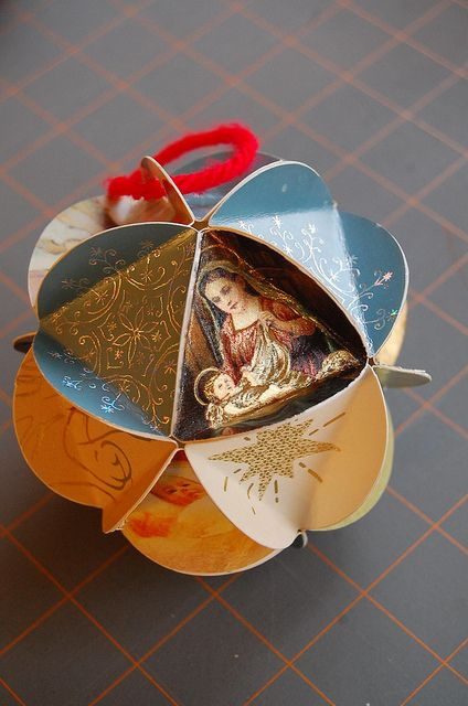 recycling too! - tutorial on how to make a paper ball ornament made from old xmas cards. NOTE -- you can add family photos (cut in the triangle shape) to make wonderful gifts.