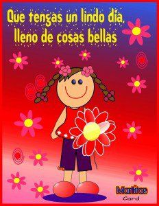 Imagen de amor de una niña llena de flores que esta empezando un lindo día descargalo y compártelo en tu facebook gratis.Que tengas un lindo día lleno de cosas bellas