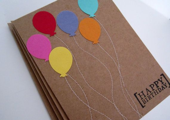 Happy Birthday Cards, Balloons, Set of 4