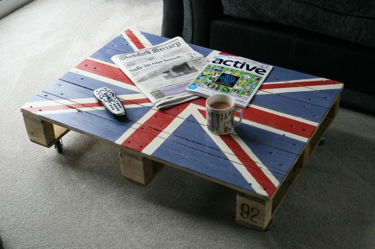 Shabby Chic Union Jack Pallet Coffee Table Industrial Rustic Uj With Castors New House Ideas