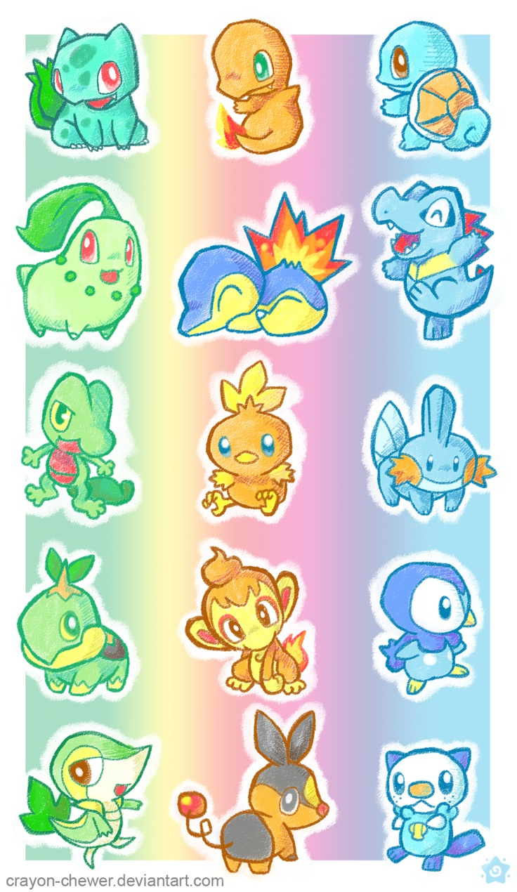 Pokemon Starters all five generations. Kanto, Johoto, Holon, Sinnoh and Unova