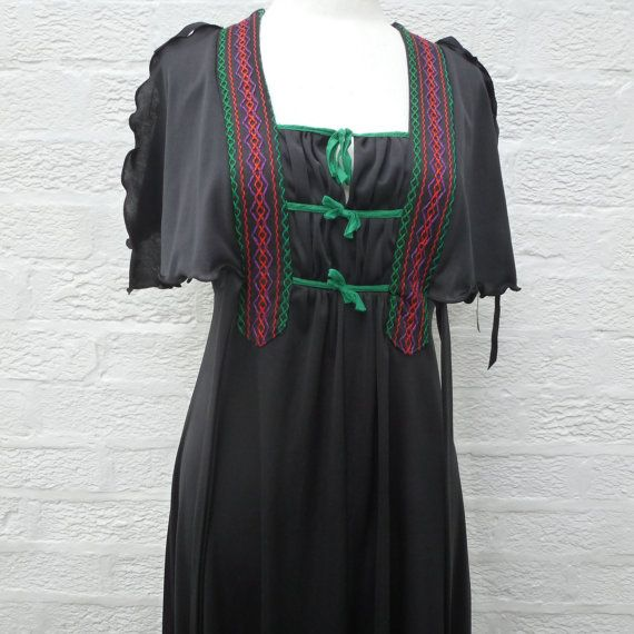 Festival dress black 1960s clothes hippie 60s dress by Regathered
