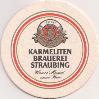 Vorderseite: Bierdeckel-Europa-Mitteleuropa-Deutschland-Bayern-Niederbayern-Straubing-Karmelitenbrauerei-Heimat