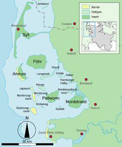 Lage von Föhr...location to the mainland of Germany...