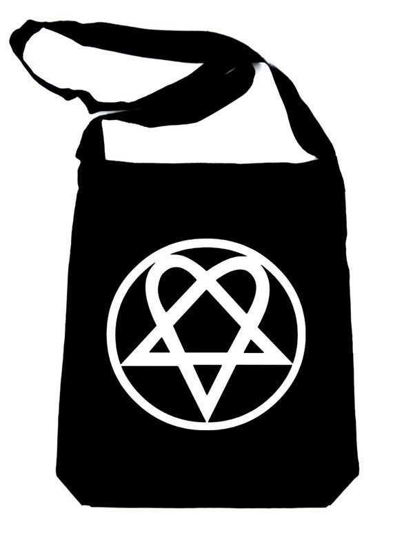 Red Inverted Pentagram Crossbody Sling Bag School Goth Metal Alternative Occult