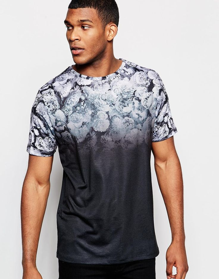 Image 1 of River Island T-Shirt with Crew Neck in Faded Floral Print