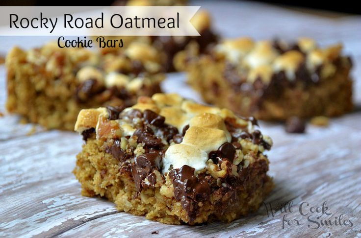 Rocky Road Oatmeal Cookie Bars - Will Cook For Smiles  http://willcookforsmiles.com/2013/05/rocky-road-oatmeal-cookie-bars.html