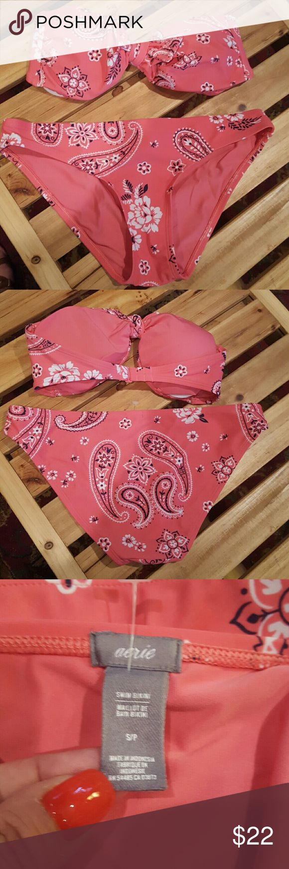 NWOT  aerie Bandana Bikini Never worn. SO CUTE! Bandeau Bandana Print Bikini... Removable pads, in top. Front tie is also removable, if wanting more... 3 adjustments at back. aerie Swim