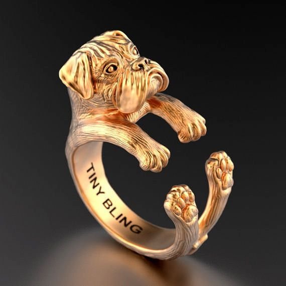 [video][/video] Our amazing Boxer Breed Jewelry Cuddle Wrap Ring is great representation of the loving and friendly Boxer Dog Breed. The Boxer Breed Cuddle Wrap Ring showcases the Boxer's muscular, sq