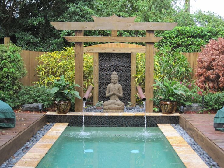 How To Make A Zen Garden Design In Your Backyard: Zen Garden Design In  Asian Pool With Water Features And Outdoor Water Fountains Also Japanese  Maple And ...