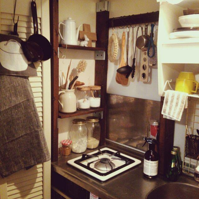 キッチン 一人暮らし ワンルーム Diy 賃貸 などのインテリア実例
