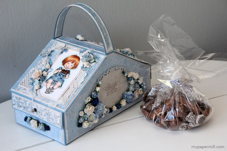 chocolate picnic basket. Maja Design papers, Mo Manning image colored with Copics.