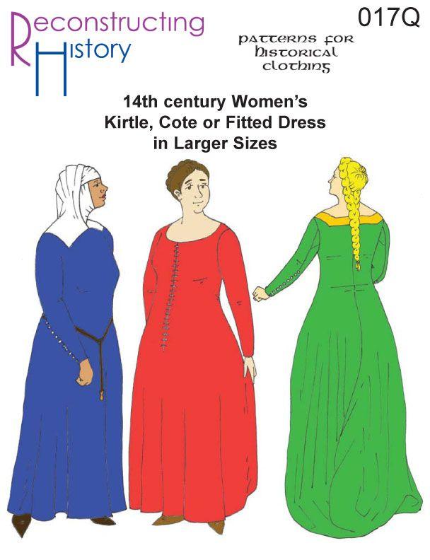 Rh017q 14th Century Women S Kirtle Or Cotehardie In Larger Sizes