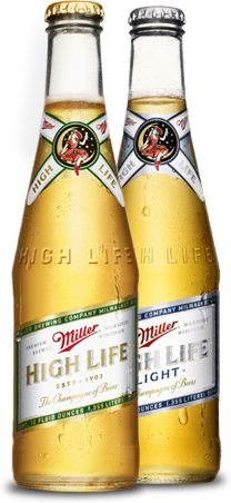 Miller High Life the Champagne of Beers. One of the most affordable beers on the market today with a great old fashioned full-bodied lager taste.  Not trendy, not lite...just good and refreshing.