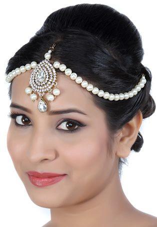 White Stone Studded Matha Patti