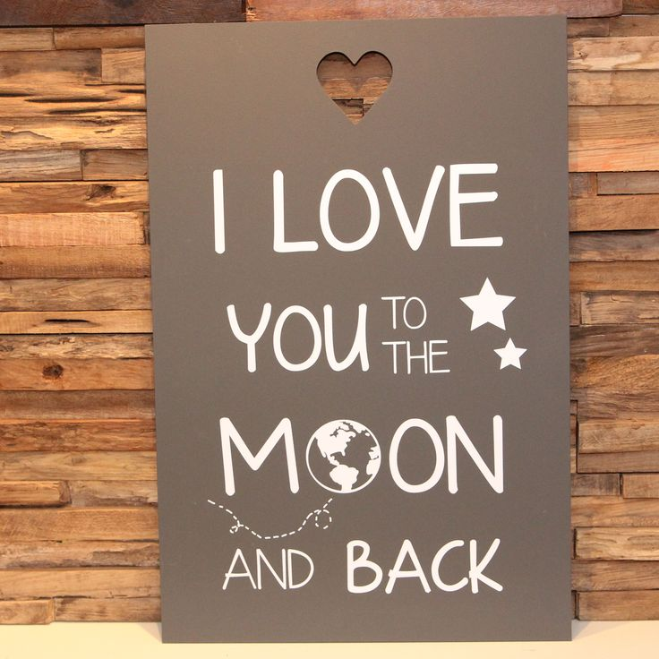tekstbord I love you to the moon and back