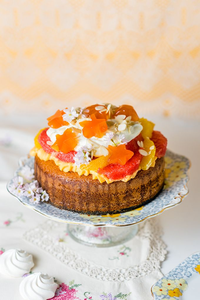 ... trifle cake with orange blossom pastry cream and blood orange jelly