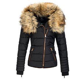 Navahoo AZU Damen Winter Jacke Parka Steppjacke großer Kunst-Fellkragen XS-XL, Größe:S;Farbe:Schwarz